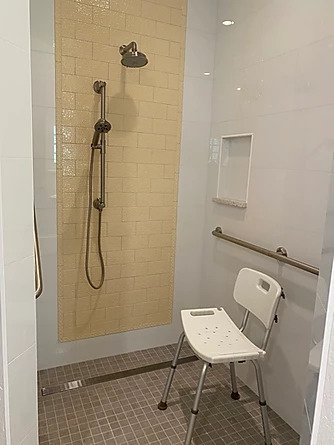 Standard shower seat for increased safety when showering